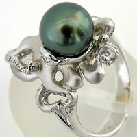925 Silver Ring Green Pearl Animal Octopus Women Men Wedding Engagement Size6-10