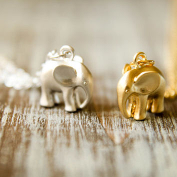 Little Elephant Necklace, Available in Matte Silver or Gold