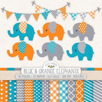 Blue, Orange Elephant Clipart. Baby Shower Clip Art, Digital Paper, Banner. Chevron, Heart, Stripe Patterns. Orange, Gray Nursery Elephants