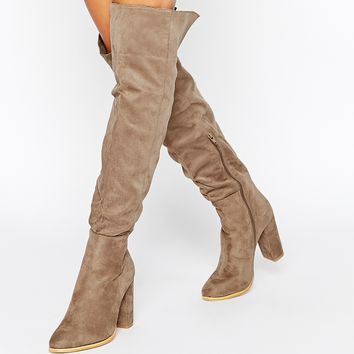 Daisy Street Taupe Block Heel Over The Knee Boots