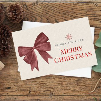 Watercolor Christmas Holiday Greeting Card with Envelope