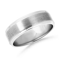 14K White Gold Stone Finish Men's Wedding Band - WRM_SR0775