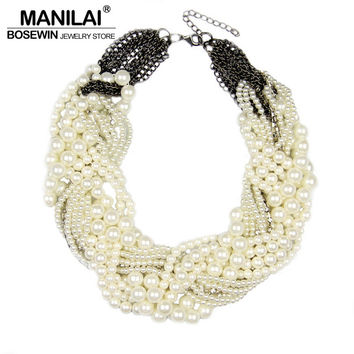 MANILAI Women Handmade Chunky Imitation Pearl Necklace Fashion Rhinestones Collar Chokers Necklaces Statement Jewelry Bijoux