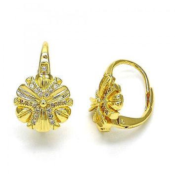 Gold Layered 02.195.0046 Leverback Earring, Flower Design, with White Micro Pave, Polished Finish, Golden Tone