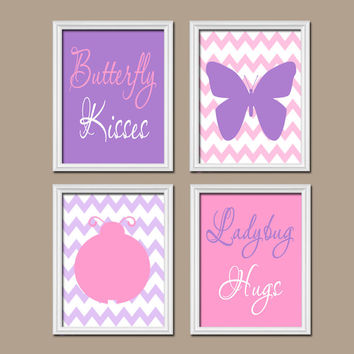 Butterfly Lady Bug Wall Art CANVAS or Prints Butterfly Kiss Baby Girl Nursery Ladybug Hugs Girl Bedroom Wall Art Pink Purple Decor Set of 4