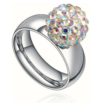 Stainless Steel Aurora Borealis Crystal Disco Ball Ring