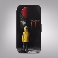 STEPHEN KING IT CLOWN SCARY PENNYWISE FLIP WALLET PHONE CASE COVER IPHONE SAMSUN