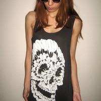 SKULL Indian Feather Skull Punk Goth Rock Goth Vintage Tank Top
