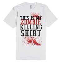 This Is My Zombie Killing Shirt-Unisex White T-Shirt