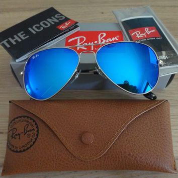 *NEW GENUINE* 80% Off Ray Ban Aviators Silver Frame Blue Mirror Lens Sunglasses
