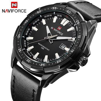 NAVIORCE NF9056B Sports Men's Quartz Leather Strap Army Military Watch