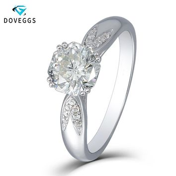 DovEggs 1.5 Carats 6.5MM F Color Lab Grown Moissanite Diamond Octagon Cutting 18K White Gold 750 Engagement Ring for Women