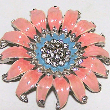 Crown Trifari  Flower Fur Clip, Alfred Philippe Era,  Pink Enamel Petals, Crystal Rhinestone Brooch, Art Deco Dress Clip 218