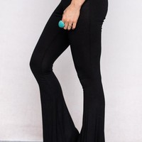 Cher Solid Flare Pants - Black