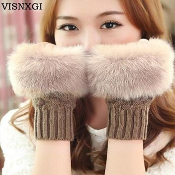 Women Gloves Warm Knitted Mittens Fingerless Plaid Pattern Short Paragraph Winter Wool Half Finger Faux Rabbit Fur Luvas 9 Color
