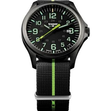 P67 Officer Pro Gunmetal Black / Lime Nato 107426 Men'S Swiss Watch Pvd Coated