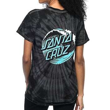 Santa Cruz Wave Dot Black Tie Dye T-Shirt | Zumiez