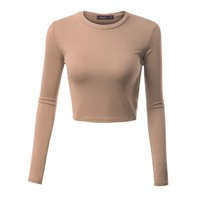 Doublju Womens Basic Long Sleeve Crew Neckline Crop Top - Walmart.com