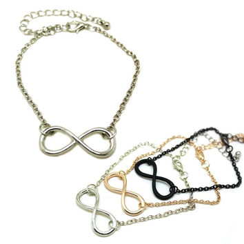 Lady Girl Men Boy Stylish Punk Metal Infinity Sign Hand Chain Bangle Bracelet = 5617249537
