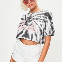 Missguided - Barbie x Missguided Black Short Sleeve Tie Dye Printed T-shirt