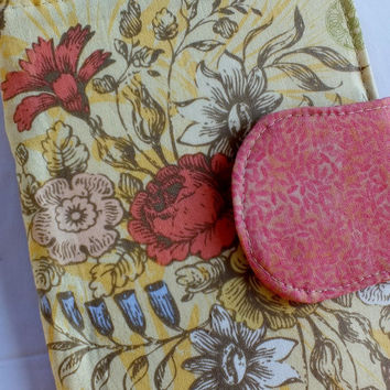 Yellow Floral Vintage Bird E-Reader Cover Kindle , Nook Cover, Kobo Cover, Kindle Fire Cover, Kindle Touch Cover Made to Order