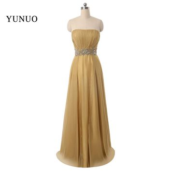 Floor-length Party Gown with Zipper Of Back A-line Chiffon Gold Bridesmaid Dresses Strapless 2016 Plus Size x12254