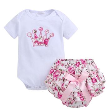 37d79cbc8 2018 Summer baby girl clothes Cotton short sleeve Top +Floral PP
