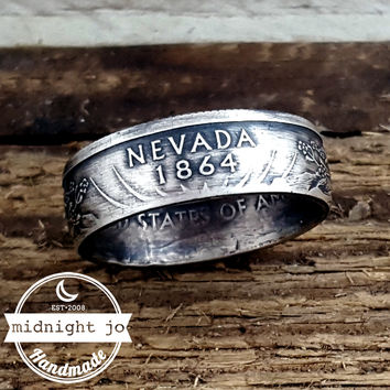 Nevada 90% Silver State Quarter Coin Ring
