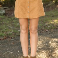 Blank Space Suede Skirt-Camel