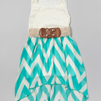 Mint & White Zigzag Lace Belted Dress | Daily deals for moms, babies and kids