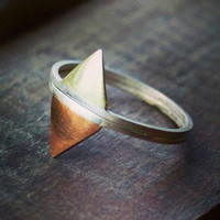 Stacking Rings - Sterling Silver, Copper and Brass Rings - Triangle Rings - Geometric Rings - Set of Two