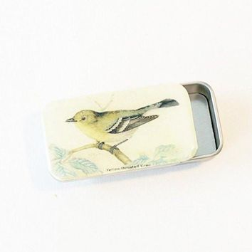 Vintage Yellow Bird Pill Box, Slider Tin, Mint Tin - Small