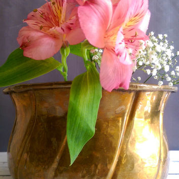 Antique Brass Planter/ Large Rustic Brass Planter/ Hand Forged Brass Planter