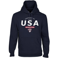 USA Weightlifting Property Of Pullover Hoodie - Navy Blue