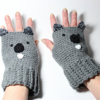 Koala gloves, crocheted fingerless gloves, animal mittens.