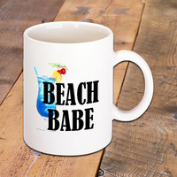 Beach Babe Coffee Mug, Tropical Drink, Beach Lover, Coffee Lover, 11 oz. Ceramic Mug, Great for Hot Drinks, Latte, Cappuccino, Hot Tea, More