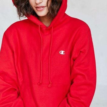 Champion Fashion Unisex Personality Casual Sport Hoodie Long Sleeve Pullover Top Sweater Red I