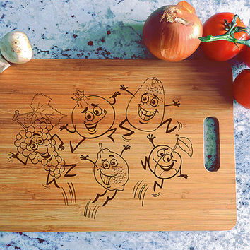 kikb593 Personalized Cutting Board funny cartoon fruits vegetables vegetarian kitchen gift