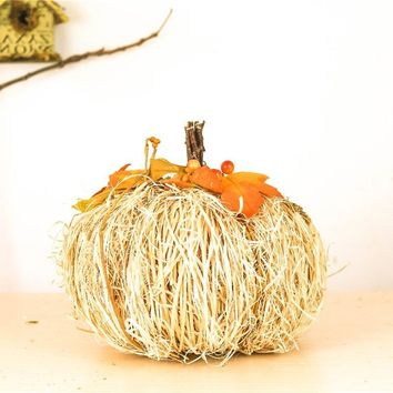"9"" Artistic Home Decor Creative Pumpkin Ornaments Nature Wool Straw Decoration Statues Sculptures Easter Decorations Accessories"