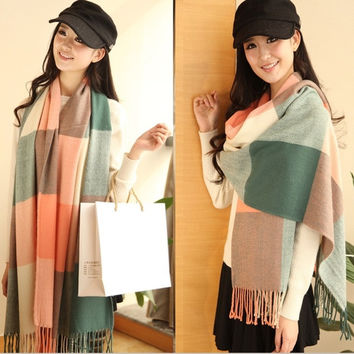 2015 Autumn and Winter Wool Fashion Leisure Scarf Men and Women Couple Section of Thick Plaid Scarf Shawl Long = 1930359428