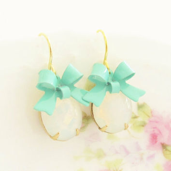 White Opal Turquoise Bow Earrings -Vintage White Opal Jewel and Turquoise Bow Dangle Earrings - Gold Plated Ear Wire, Wedding, Bridesmaid