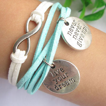 infinity bracelet--silver charm ,live in your dream &never give up pendant ,antique silver bracelet,blue white leather bracelet, MORE COLORS