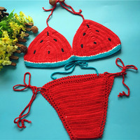 Sexy Handmade Crochet Bikini women crochet Swimsuit Brazilian biquini 2016 Crochet Swimwear Bathing Suit fashion beach suit