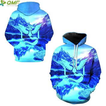 Team Mystic Sweatshirts Cosplay Pokemon Go Tops Autumn Men Hooded Hoody Skateboarding Hoodies Tracksuits Outerwear Pullovers