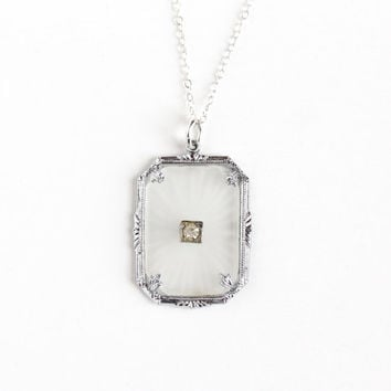 Antique Art Deco Camphor Glass Rhinestone Necklace - Vintage Silver Tone 1920s Frosted Glass Pendant on Sterling Silver Chain Jewelry