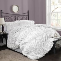 Lush Decor Venetian 4-Piece Comforter Set, Queen, White