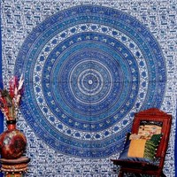 Intricate Psychedelic Tapestry Elephant Horse Printed Paisely Wall Hanging Labnanshi