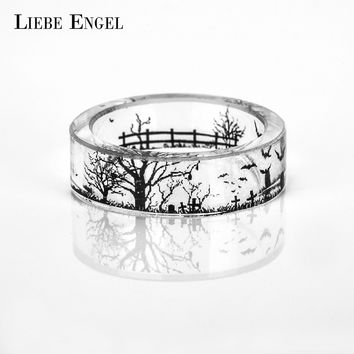 LIEBE ENGEL Cross Grave Bat Ring Men Ink Painting Scenery Inside Epoxy Resin Rings Women Finger Punk Jewelry Halloween Vintage
