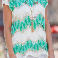 Chained To Love Top, Mint/White