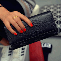 2015 Hot ladies Rose Flower Embossed PU Leather long Wallet Women Cluth Bag Purse,european Style vintage party money clips